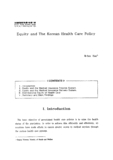Equity and The Korean Health Care Policy