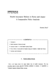 Health Insurance Reform in Korea and Japan : A Comparative Policy Analysis