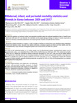 Maternal, infant, and perinatal mortality statistics and trends in Korea between 2009 and 2017